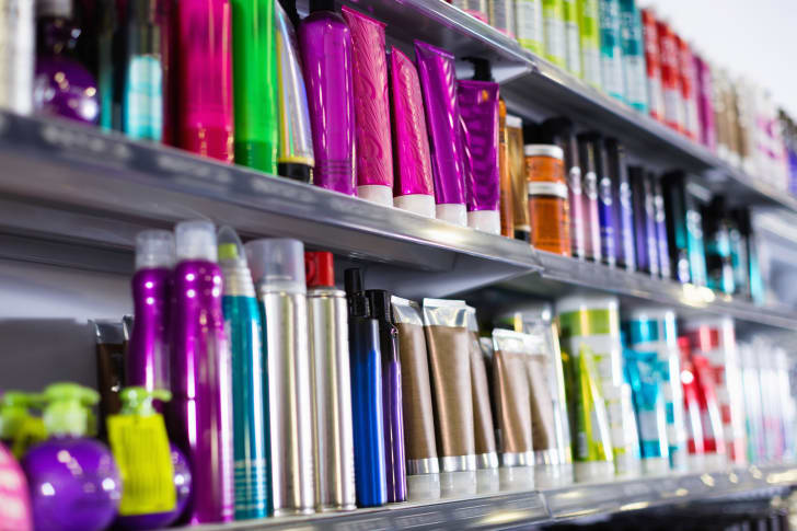 An aisle full of hair care products