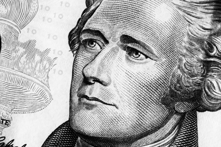 Portrait of Alexander Hamilton on the $10 bill