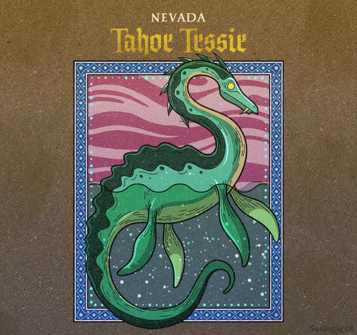 nevada's tahoe tessie illustration