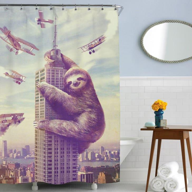 Sharp Shirter sloth shower curtain on Amazon.