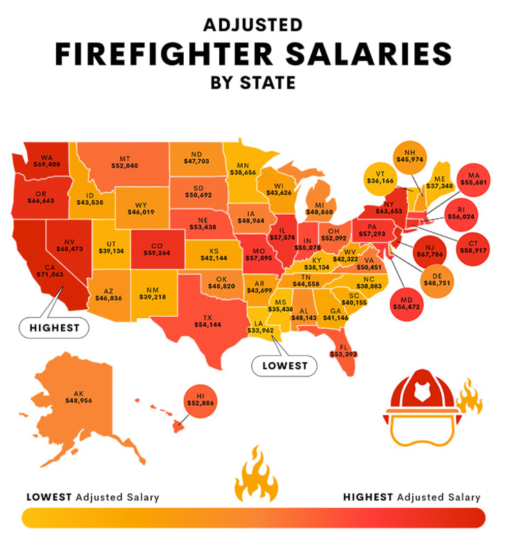 Map of firefighter salaries.