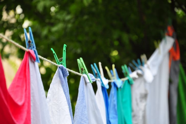 Colorful clothes hanging on a clothesline