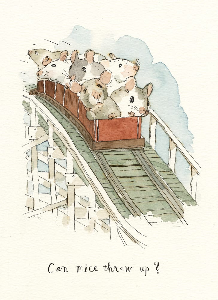 A cartoon of mice on a roller coaster