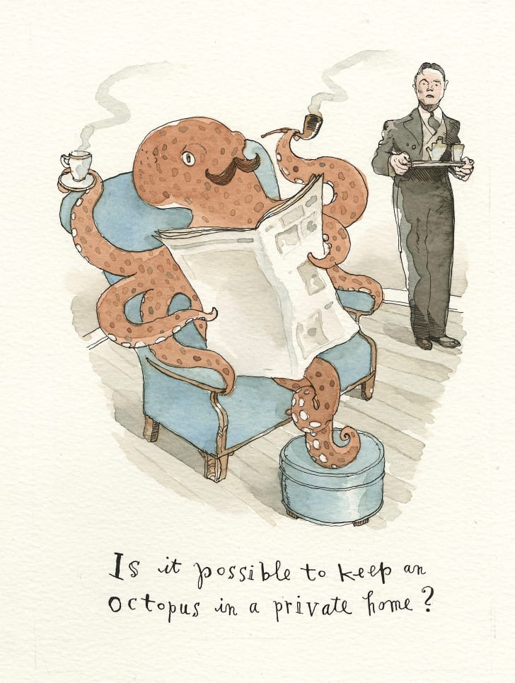 A cartoon of an octopus in armchair with coffee and pipe