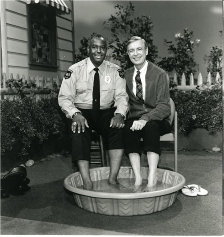 On the set of Mr. Rogers' Neighborhood
