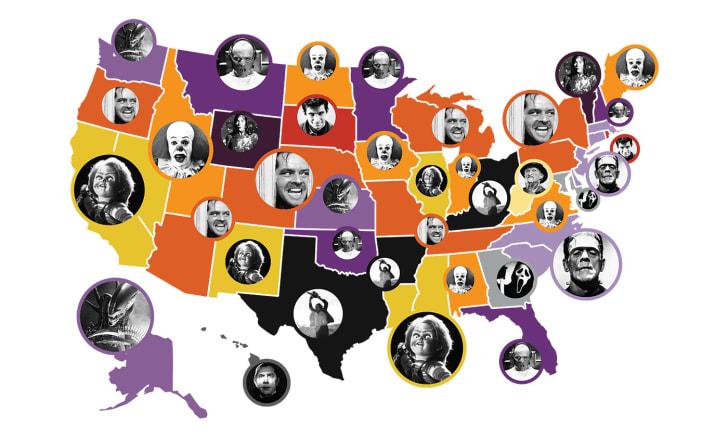 map of popular horror villains