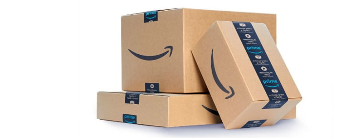 Amazon Prime shipping boxes are pictured