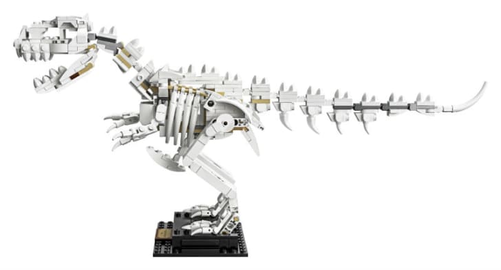 A LEGO Ideas Dinosaur Fossils 'Tyrannosaurus rex' is pictured