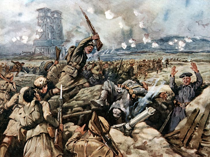 Artist rendering of Scottish WWI troops fighting in a trench