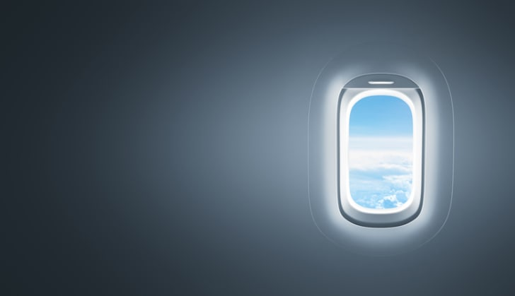 Window and wall of an airplane