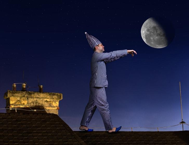 A sleepwalker on a roof
