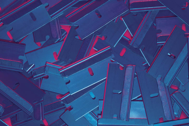A pile of razor blades
