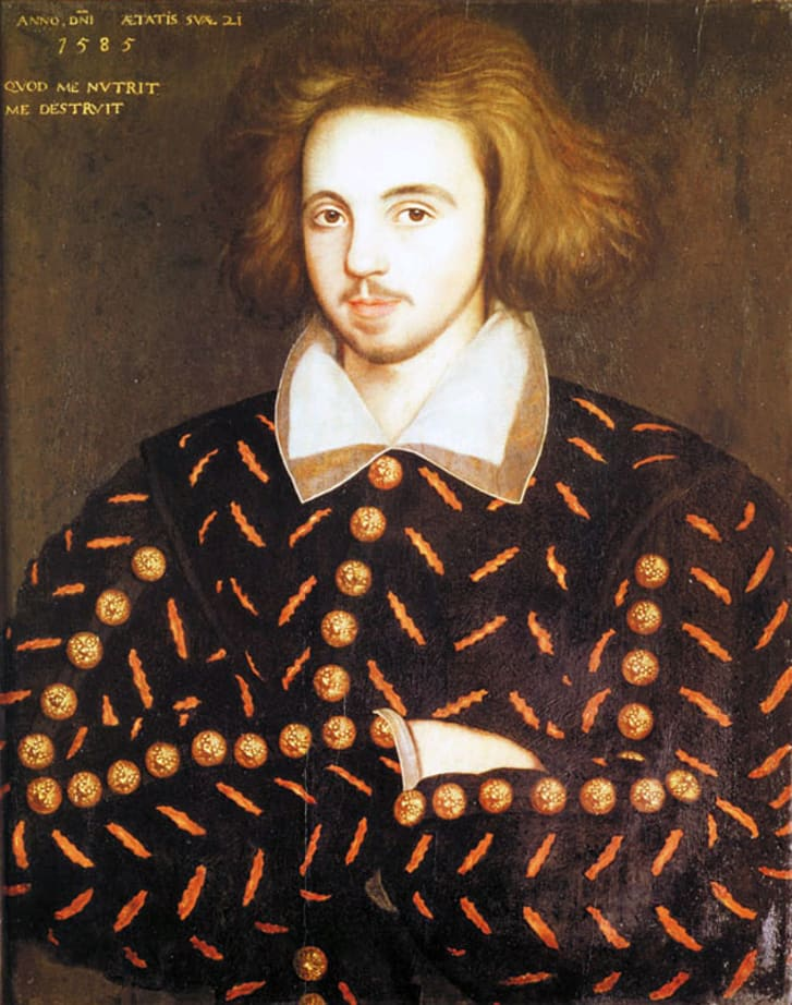 A portrait of an unknown 21-year-old man said to be Christopher Marlowe, discovered at Cambridge in 1952