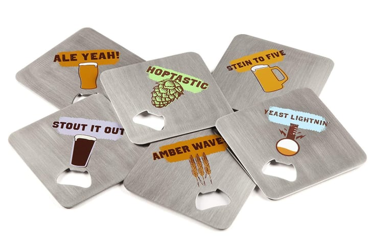 Beer coasters with built-in bottle openers.