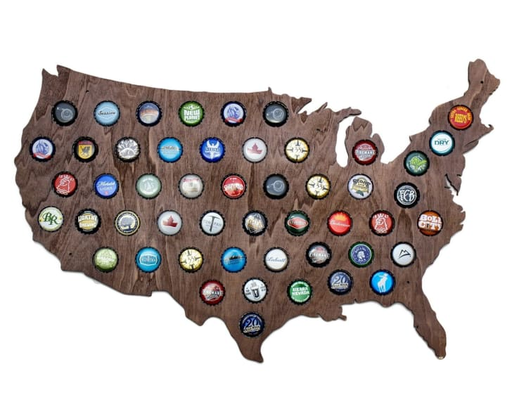 USA Beer Cap Map on Amazon.