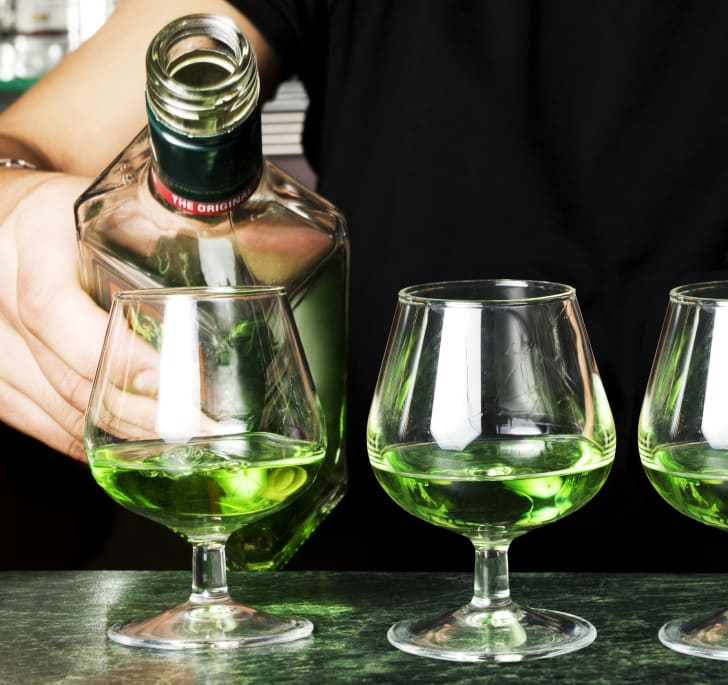 Glasses of absinthe