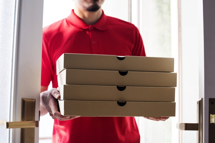 Man delivers pizza