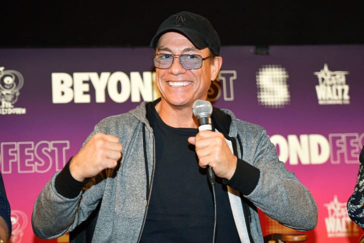 """Actor Jean-Claude Van Damme speaks onstage during the Beyond Fest screening and Cast/Creator panel of Amazon Prime Video's exclusive series """"Jean-Claude Van Johnson"""" at the Egyptian Theatre on October 9, 2017 in Hollywood, California"""