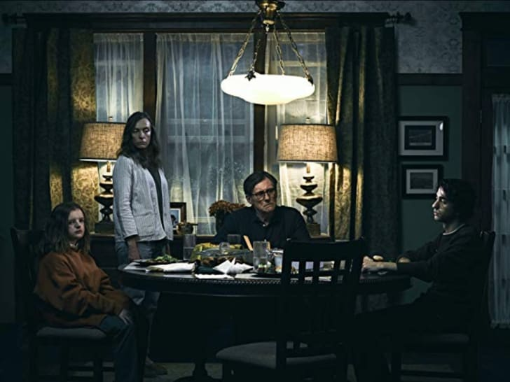 Still of Gabriel Byrne, Toni Collette, Alex Wolff and Milly Shapiro in Hereditary