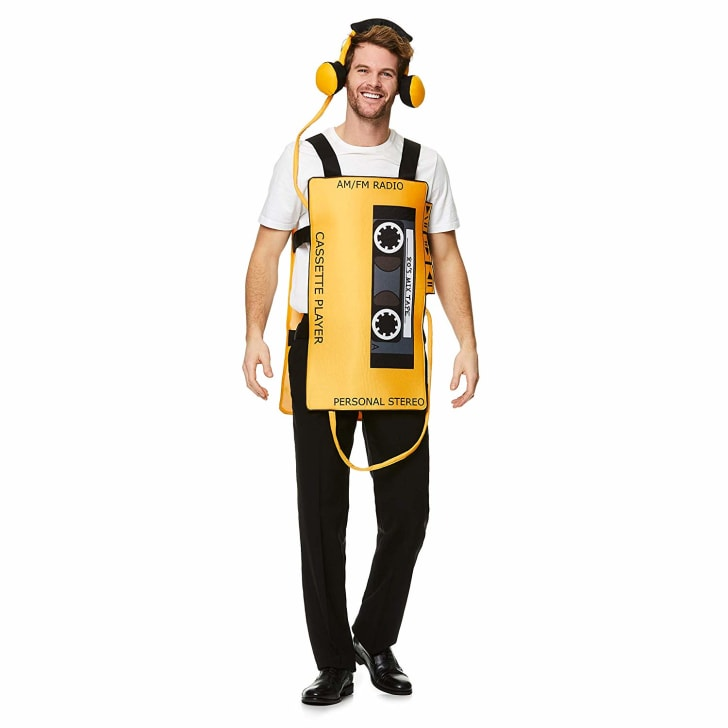 A cassette player costume for Halloween.