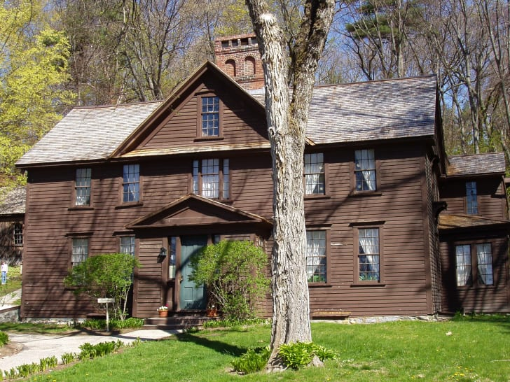 """Orchard House - Concord, Massachusetts. Former home of Bronson Alcott and family, including his daughter Louisa May Alcott. Her novel """"Little Women"""" was written in the house in 1868, and loosely based on both the house itself and her family."""