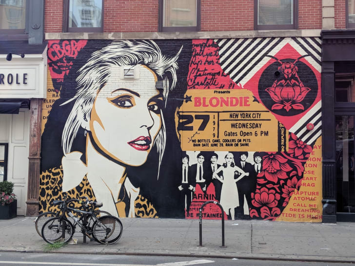 The facade of Saxon + Parole has been turned into a shrine to Blondie by graffiti artist Shepard Fairey. The project was curated by the Little Italy Street Project and serves as a tribute to the now-closed legendary music club CBGB.