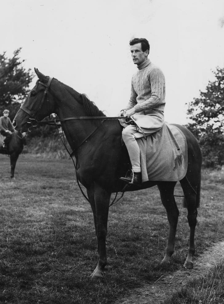 Group Captain Peter Townsend on horseback