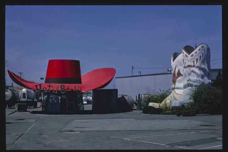 The Hat 'N Boots gas station in Seattle, Washington is pictured