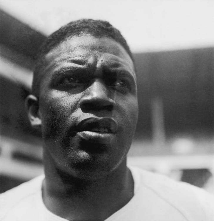American baseball player Jackie Robinson (1919 - 1972) during his time with the Brooklyn Dodgers, 28th August 1949