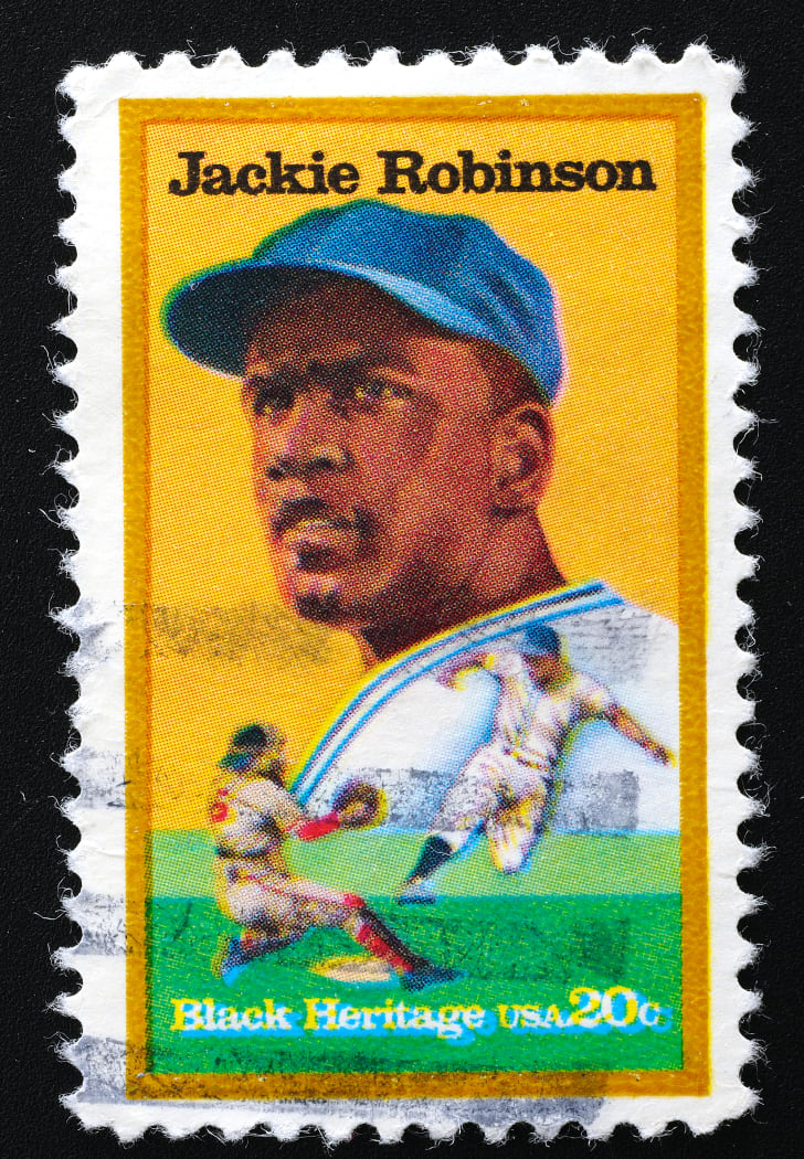 Postage stamp featuring Jackie Robinson