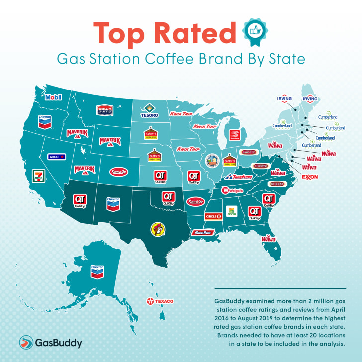 GasBuddy best coffee in every state map