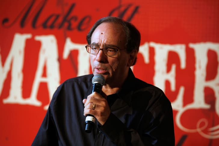 """R.L. Stine speaks during """"Make it Matter Day"""" in support of literacy and education at The New York Public Library."""