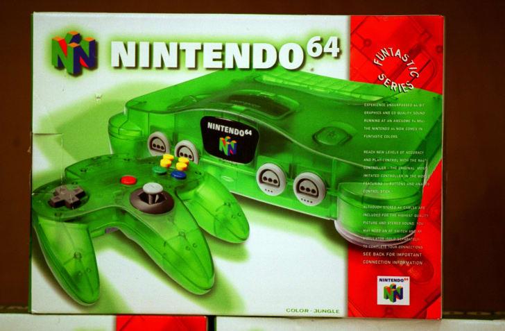 A Nintendo 64 on the shelf in 1999.