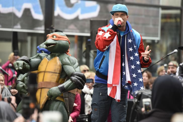 Vanilla Ice rapping with the Teenage Mutant Ninja Turtles.