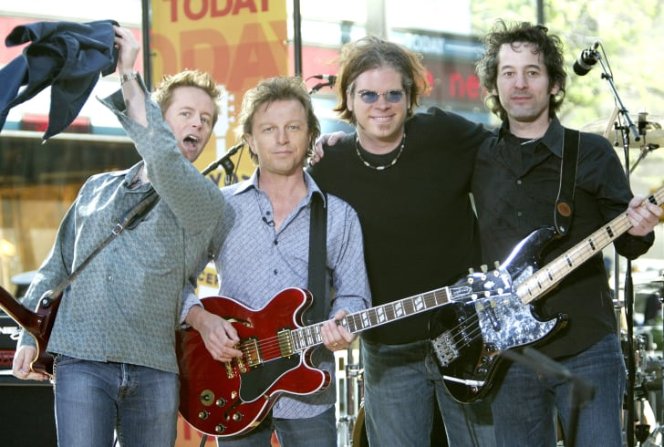 """The Rembrandts stand on stage before performing on the """"Today"""" show at Rockefeller Plaza May 6, 2004"""