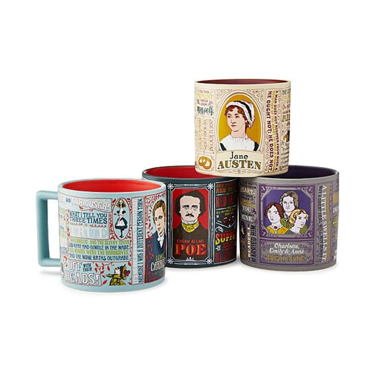 Literary mugs featuring the writers Lewis Carroll, Edgar Allan Poe, the Bronte Sisters, and Jane Austen.