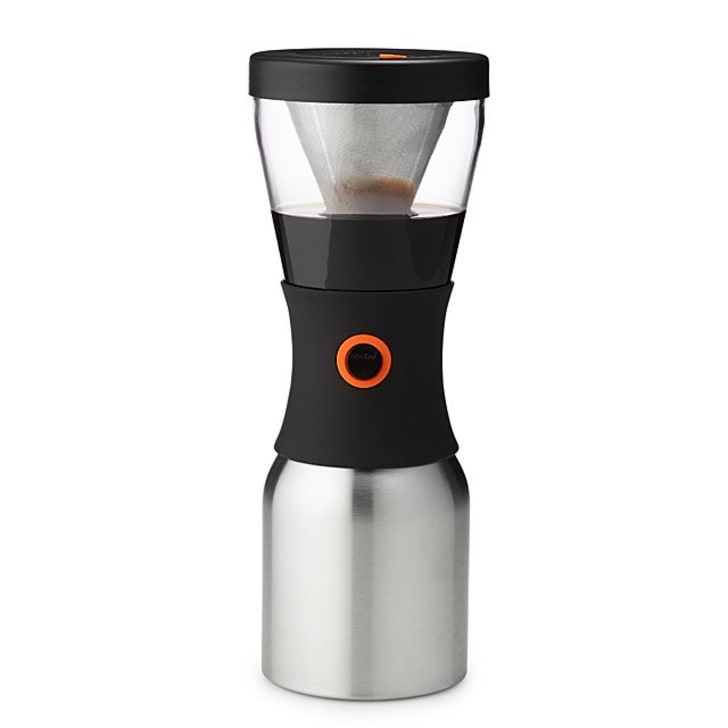 The stainless steel cold brew coffee maker and carafe.