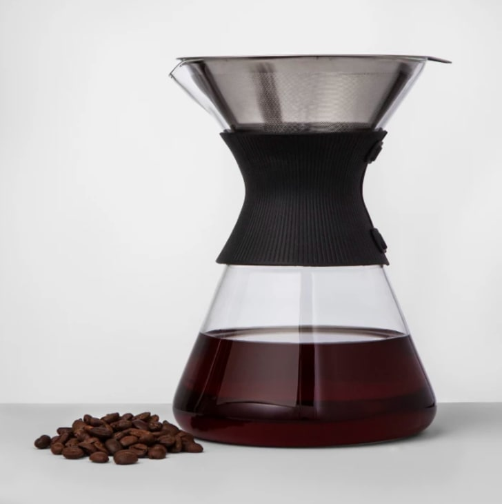 A glass pour over coffee maker from Target.