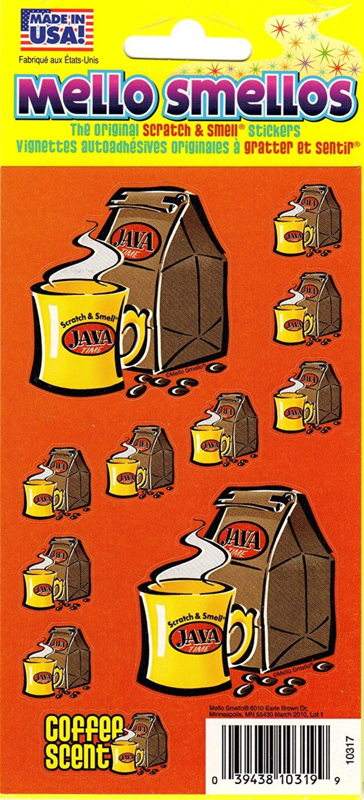 """Stickers of coffee cups and bags of coffee beans that say """"java."""""""