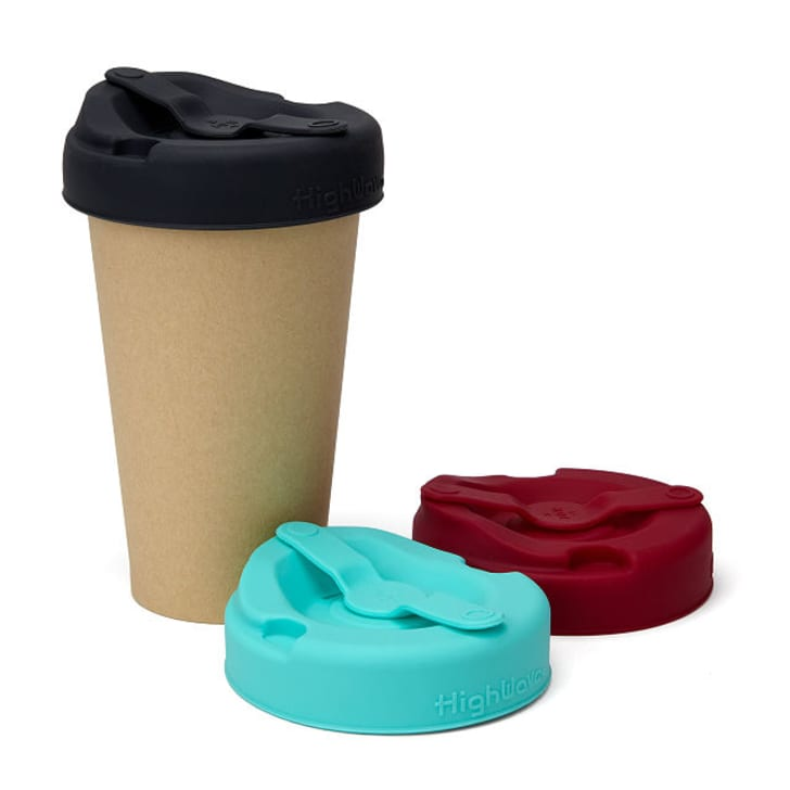 Black, pink, and teal reusable silicone lids.