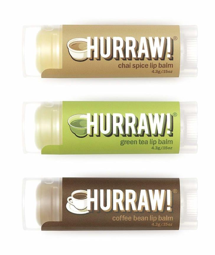 Hurraw! Lip balm in three flavors: Green tea, chai spice, and coffee.