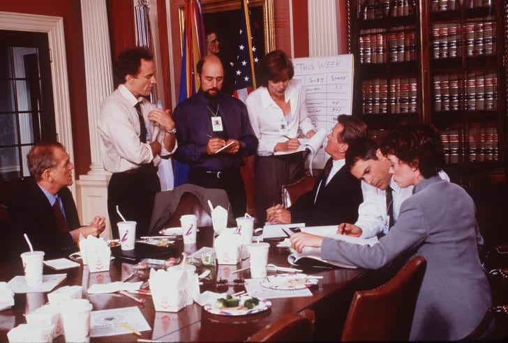 """Moira Kelly, Dule Hill, Rob Lowe, Richard Schiff, Martin Sheen, John Spencer, Allison Janney, and Bradley Whitford in """"The West Wing"""