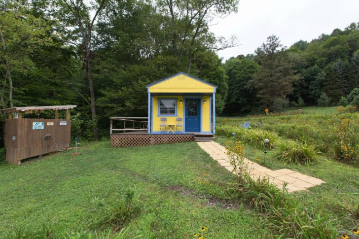 A cottage with a 'Wizard of Oz' theme in West Jefferson, North Carolina is pictured