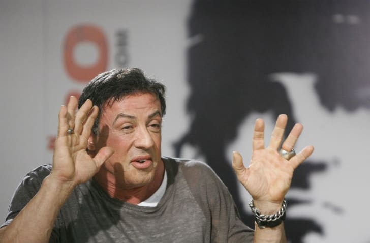 Actor Sylvester Stallone is pictured during a promotional tour for the film 'Rambo' in Madrid, Spain in January 2008