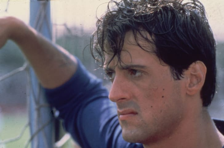 A publicity still of Sylvester Stallone from the 1981 film 'Victory' is pictured