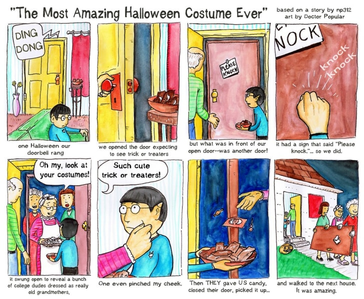 "A comic describing ""reverse trick or treating"""
