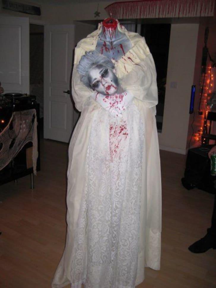 A headless Marie Antoinette Halloween costume