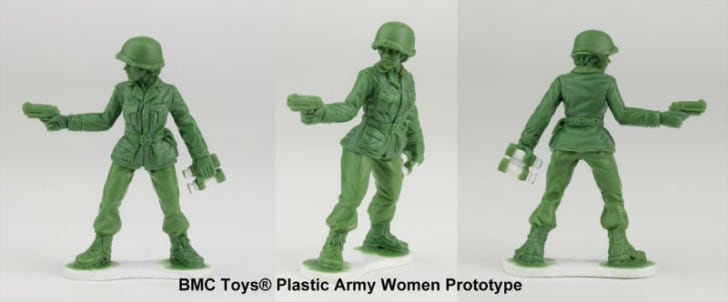 A little green Army woman prototype figure is pictured
