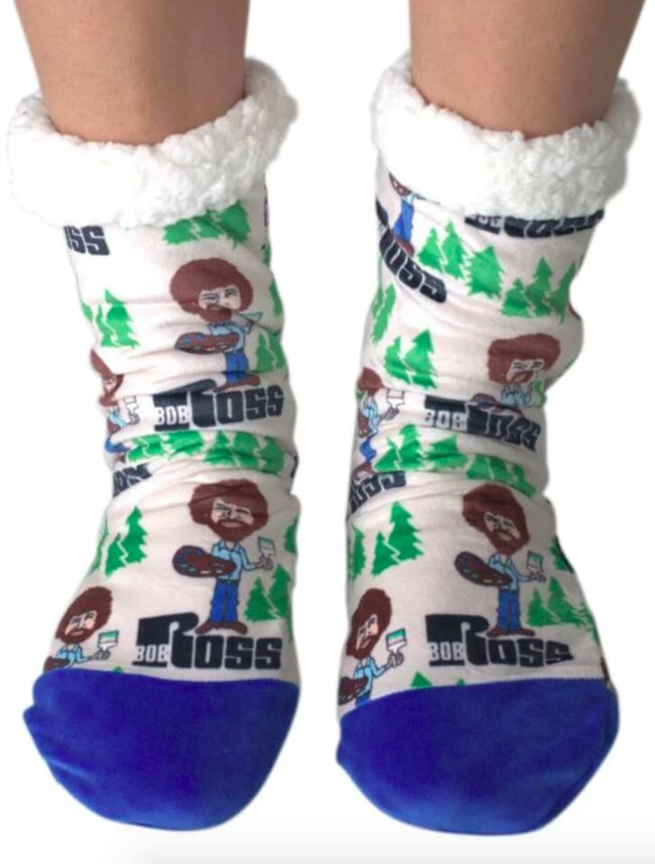 Bob Ross slipper socks.