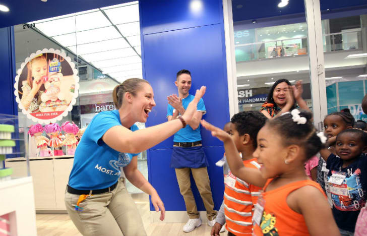 Customers are greeted by employees at the Build-A-Bear Workshop in the Mall of America in Bloomington, Minnesota in September 2015